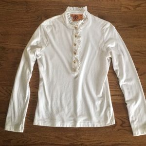 Tory Burch Tops - Tory Burch white, long-sleeve shirt w/gold buttons
